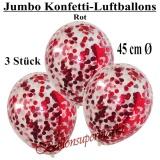 Konfetti-Luftballons, Jumbo, 45 cm, Rot, 3 Stück