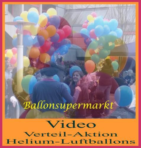 Video: Verteilaktion von Heliumballons, Luftballons mit Helium und Ballonflugkarten werden in einer Aktion zu einer Veranstaltung verteilt